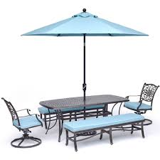 Traditions 5 Piece Dining Set In Blue With 2 Swivel Rockers
