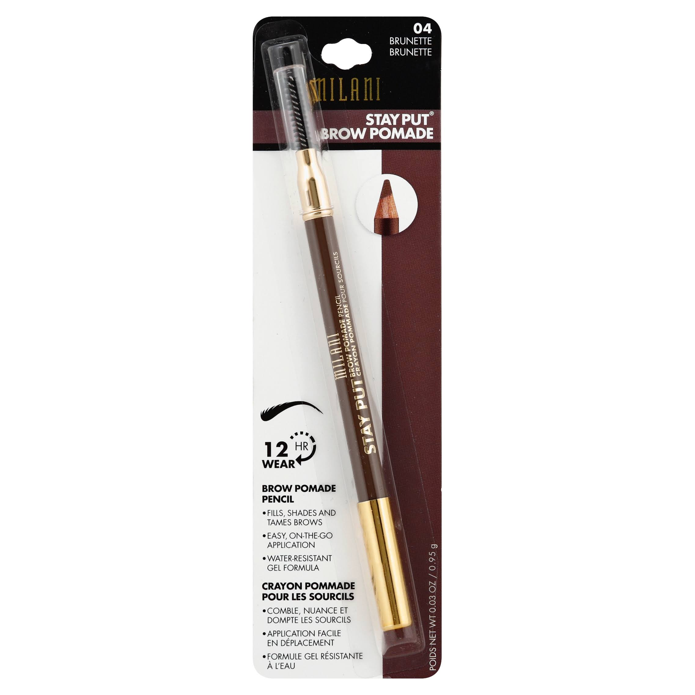 Milani Stay Put Brow Pomade Pencil - 04 Brunette, 0.04oz