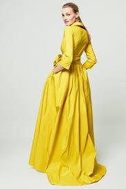 yellow cache caeur taffeta dress evening ch carolina herrera