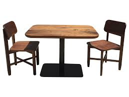 Chromcraft Dining Room Chairs by Small Walnut Cafe Table U0026 Two Chairs Handcrafted Chairish