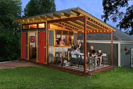 Shed Bar Ideas Farmhouse With Outdoor String Lights Red Barn Doors