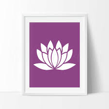 Lotus Flower Print Plum Color Yoga Art Print Zen Home Decor Etsy
