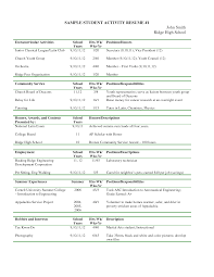 Extracurricular Activities Resume Template Examples For College Within List
