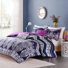 Oriental Chevron Paisley Blue Purple Teen Girl Bedding Twin XL