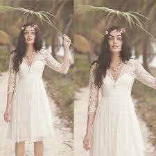Bohemian Boho Beach Rustic Western Half Sleeve V Neck And Back Elegant 2016 Empire Waistline Short Wedding Dress