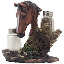 Chestnut Stallion Glass Salt Pepper Shaker Set With Decorative Brown Horse Statue Holder For Western Ranch Decor Or Country Farm Kitchen Table