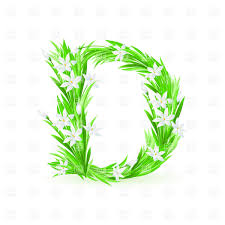 Grass And Spring Flowers Font Letter D Vector Image Of Backgrounds