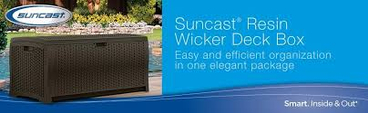amazon com suncast dbw7300 mocha wicker resin deck box 73 gallon