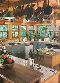 Vintage Home Decorating Trends Laminate Cabinets Hanging Copper Pots