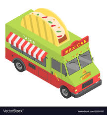 Mexican Food Truck Icon Isometric Style Royalty Free Vector