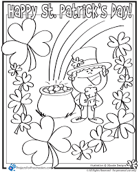 St Patricks Day Leprechaun Lucky Clover And Pot Of Gold Coloring Page Printables For Kids Free Word Search Puzzles Pages