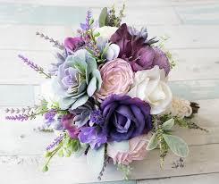 Lush Plum Purple Lilac Wedding Succulent Anemones And Sprays Silk Flower Bride Fall Rustic Bouquet
