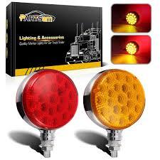 100 Semi Truck Led Lights 2pc Round 42 LED Red Amber Side Marker Turn Signal Fender