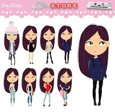 Glam Girls Clipart Kawaii Characters Winter Coffee