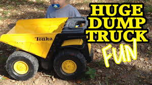 BIG Toy Tonka DUMP TRUCK Action! This Thing Is HUGE! - YouTube