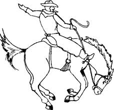 Cowboy Sitting On Crazy Horse Rodeo Coloring Page