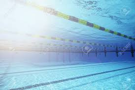 Empty Swimming Pool With Lane Markers Stock Photo