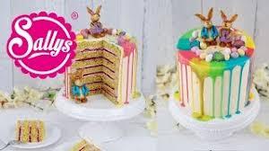 drip cake ostertorte mit bunten regenbogenfarben und