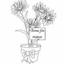 dessin de fete des meres à colorier dessin de pot fleurs fete