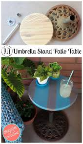 Re purpose umbrella stand into DIY patio side table for easy