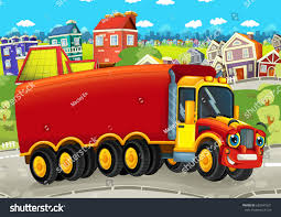 Happy Funny Cartoon Truck Looking Smiling Stock Illustration ...
