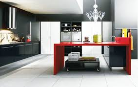 Modern Black And White Kitchen With Red Sides