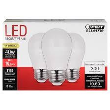 feit a15 40 watt led light bulb medium base 3 pack soft white