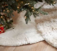 Candace Rose CandieAnderson VELVET TREE SKIRT WITH FAUX SHEEPSKIN BORDER Pottery Barn