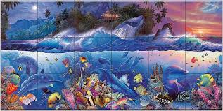 100 Christian Lassen Ceramic Tile Mural Beyond The Reef II CRL By