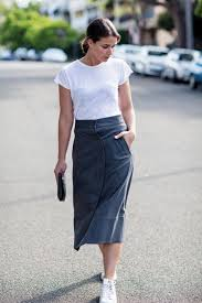 white t shirt and button up a line midi skirt by rachel comey