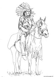 Adult Native American On His Horse Coloring Pages