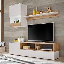mirjan24 wohnwand mini stilvoll tv möbel anbauwand mit metallgriffe und led beleuchtung schrankwand farbe weiß eiche artisan