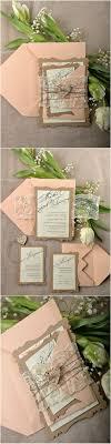 Rustic Eco Peach Lace Laser Cut Wedding Invitation Kits
