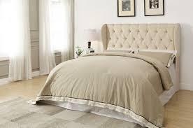 Roma Tufted Wingback Bed by Beige Tufted Upholstered Headboard Caravana Furniture Velvet