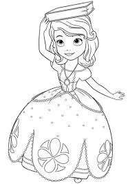 Click To See Printable Version Of Princess Sofia With A Book On Her Head Coloring Page