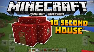 Minecraft Pocket Edition Bathroom Ideas by How To Make A House In 10 Seconds Minecraft Pe Tutorial