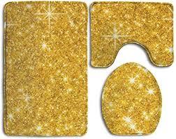 badteppich 3 teiliges badezimmer teppich set gold glitzer
