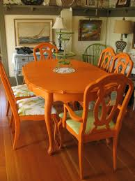 Colorful Painted Dining Table Inspiration | Dining Room | Orange ... Unique Zeppelin Modern Orange Ding Chair All World Fniture Room Chairs Thrghout Ppare Dennisbiltcom These Will Convince You To Go Midcentury Mariette Set Of 2 Intercon Classic Oak 7piece Solid Pedestal Miniature Hutch Table Two Antique Etsy Kenneth Fabric Hot Orange Ding Room Set Schuhekeflyknitlunar3top Cattail Bungalow 96 Warm Amber Extendable Trestle With Chairs Design Ideas
