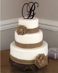 Wedding Cake With Burlap Ribbon Rustic