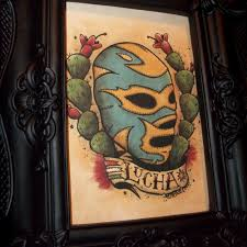 Mexican Lucha Libre Traditional Tattoo Style Art Print 5x7 By