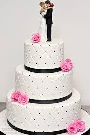 Black White Hot Pink Wedding Cake