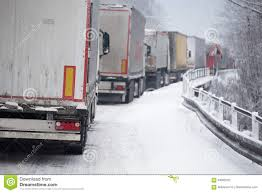 Traffic Jam Of Trucks In Snowstorm Stock Image - Image Of Cars ...