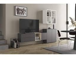 wohnzimmer set 225 cm dunkelgrau eiche und mattweiß serie lisbona farbe eiche und grau
