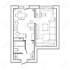 architekturplan mit möbeln haus grundriss küche wohnzimmer und bad dünne zeilensymbole für plan gesetzt innenarchitektur draufsicht vektor