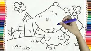 Learning How To Draw Hippo Walking The Streets Colorful For Kids