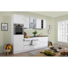 respekta küchenzeile glrp270hww grifflos 270 cm weiß hochglanz