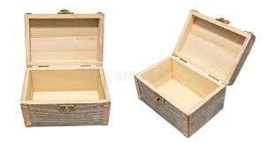 Download Old Vintage Open Box Wood Crate Chest Isolation On White Gift P Stock Photo