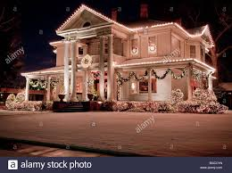 Christmas Lights Decorating A Mansion On Historic Swiss Avenue In Dallas Texas USA