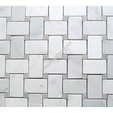 white carrara marble basketweave mosaic tile with gray dots polished
