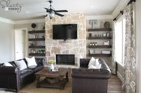 Living Room With Fireplace And Bookshelves by Diy Floating Shelves For My Living Room Shanty 2 Chic